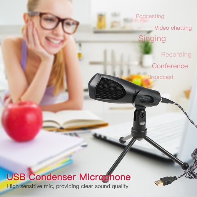 High Quality USB Studio Microphone with Tripod for Recording & Broadcasting