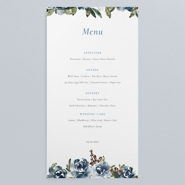 Wedding Floral Menu