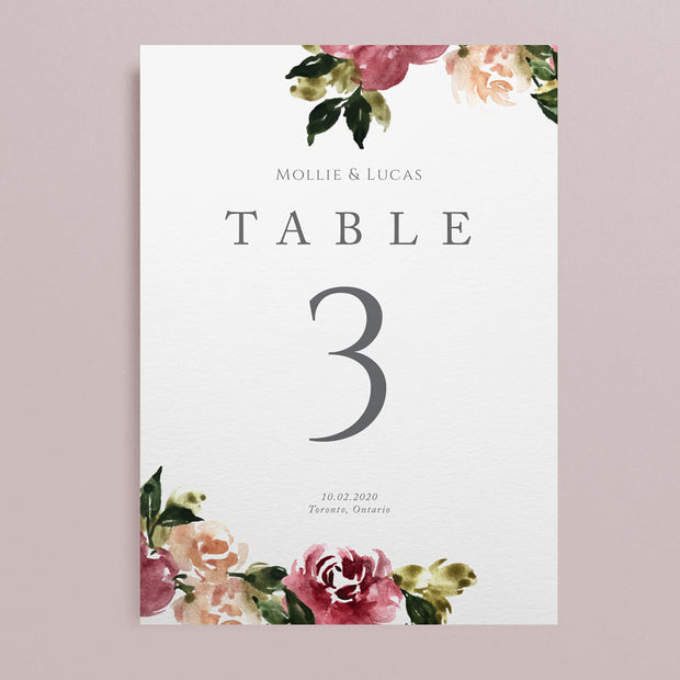 Mollie Table Numbers