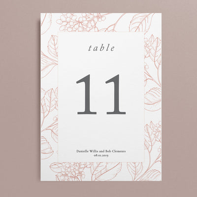 Danielle Table Numbers