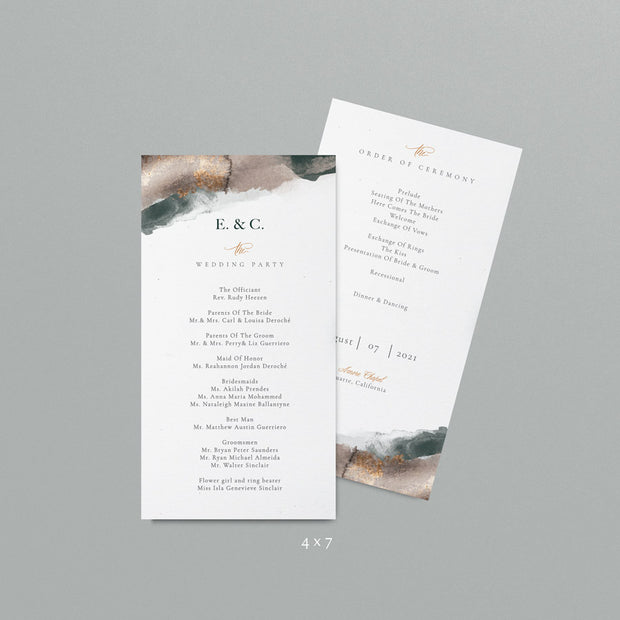 Emerald Wedding Programs