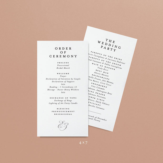 Eve Wedding Programs