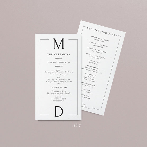 Maddison Wedding Programs