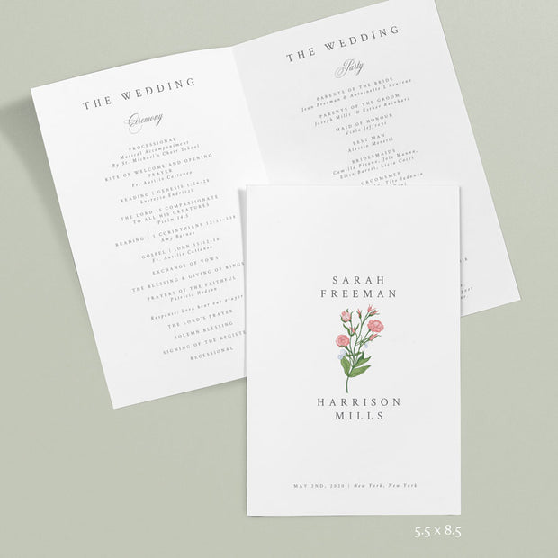 Sarah Wedding Programs