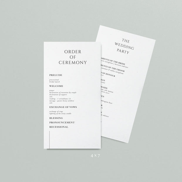 Tilly Wedding Programs