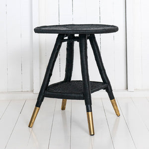 Traditional Round Side Table with Brass or Copper Feet