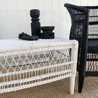 Traditional Open-Weave Coffee Table/Bench