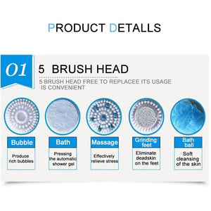 5 in 1 Electric Bath Shower Brush exfoliation Spin SPA Massage Body Clean Brush