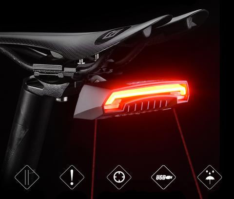 Bike Tail Light, Waterproof Bicycle Turn Signal LED - USB Rechargeable Rear Lamp