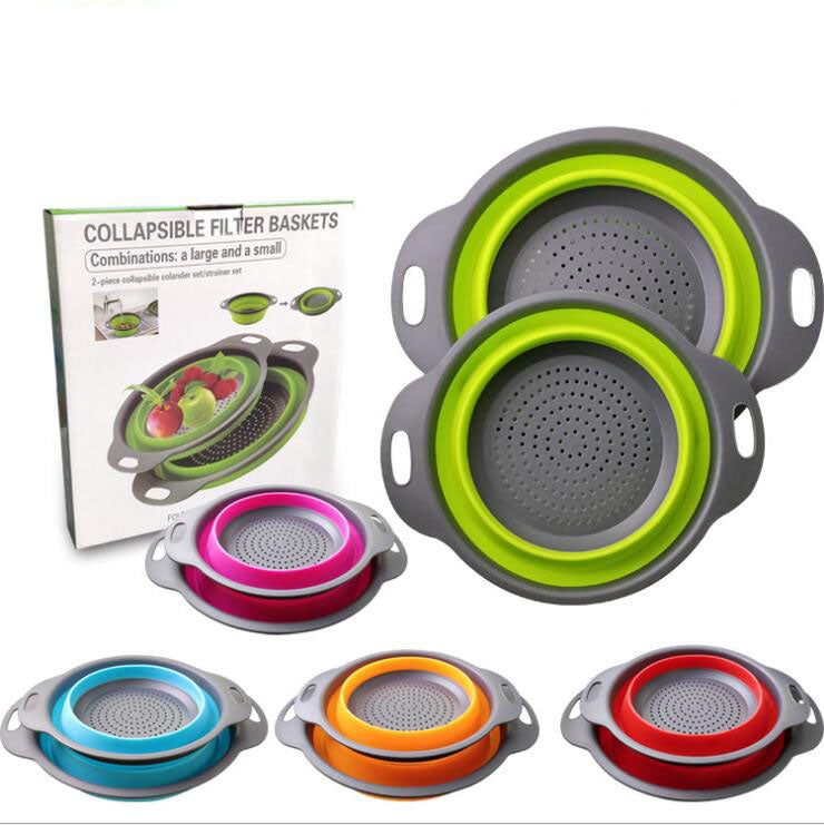 2 PCS/SET FRUIT & VEGETABLE FOLDABLE SILICONE COLANDER