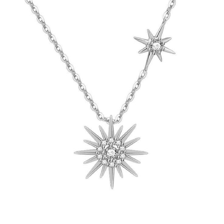 Free Shipping-Fashion Micro-Set Clavicle Chain Sun Necklace(925 Sterling Silver )
