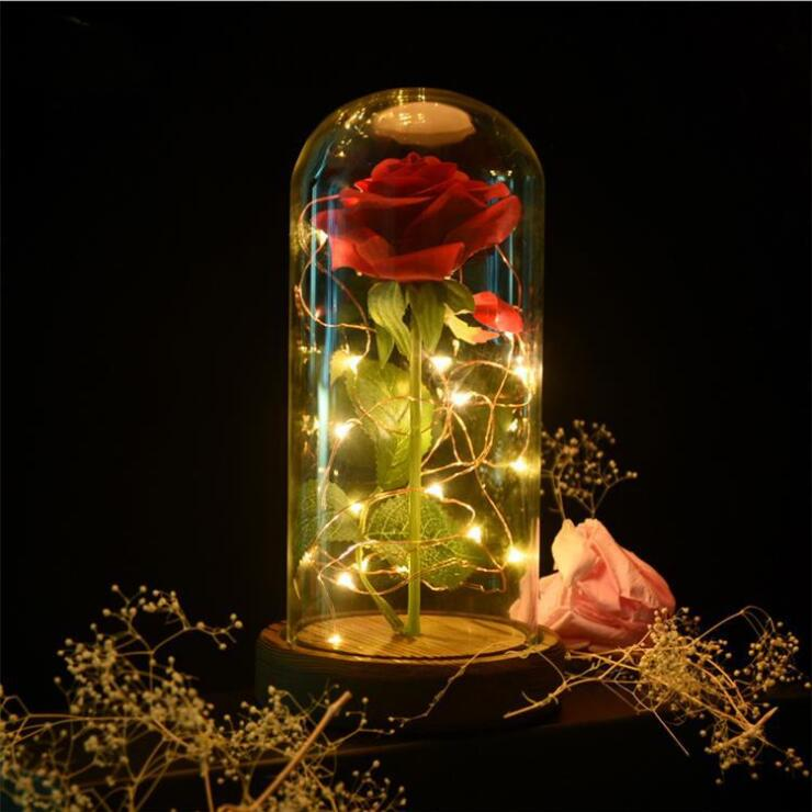 Beauty And The Beast Enchanted Forever Rose - Glass LED Light