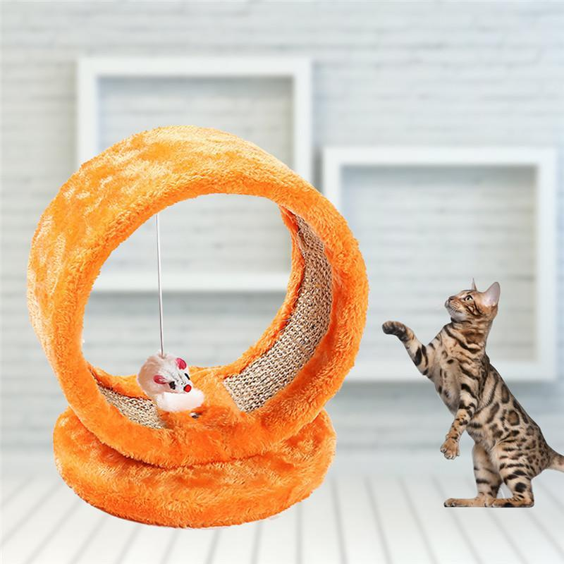 Cat - Round  Cat Scratch Toy With Mouse Hanging Toy