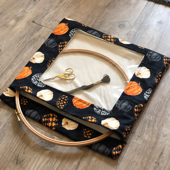 Fancy Pumpkins Large Needlework Bag