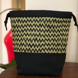 Green Chevron Drawstring Bag