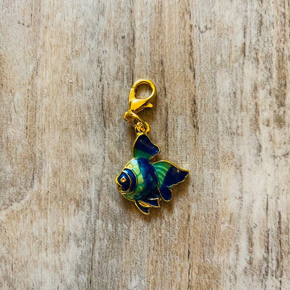 Blue Gold Fish Stitch Marker