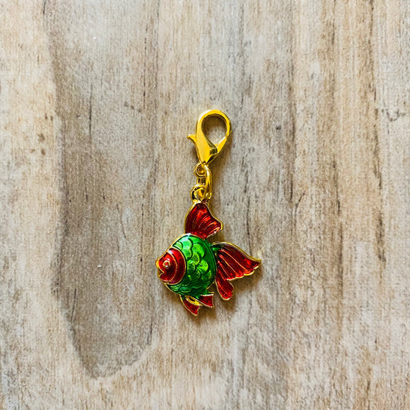 Red Gold Fish Stitch Marker
