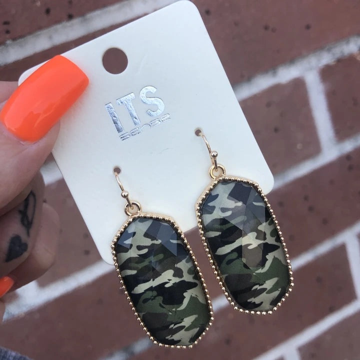 Camo Dangle Earrings