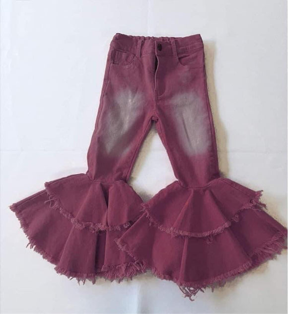 Double ruffle maroon denim bells (Preorder)