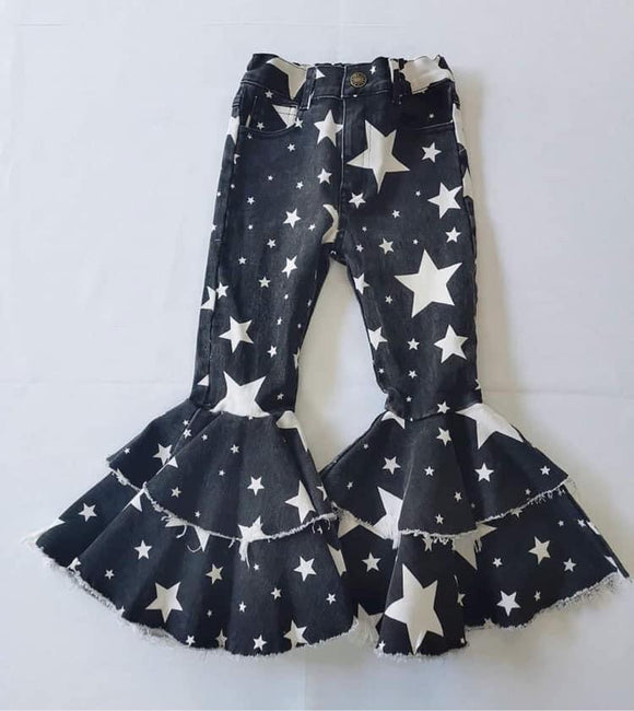 Double ruffle black star denim bells (Preorder)