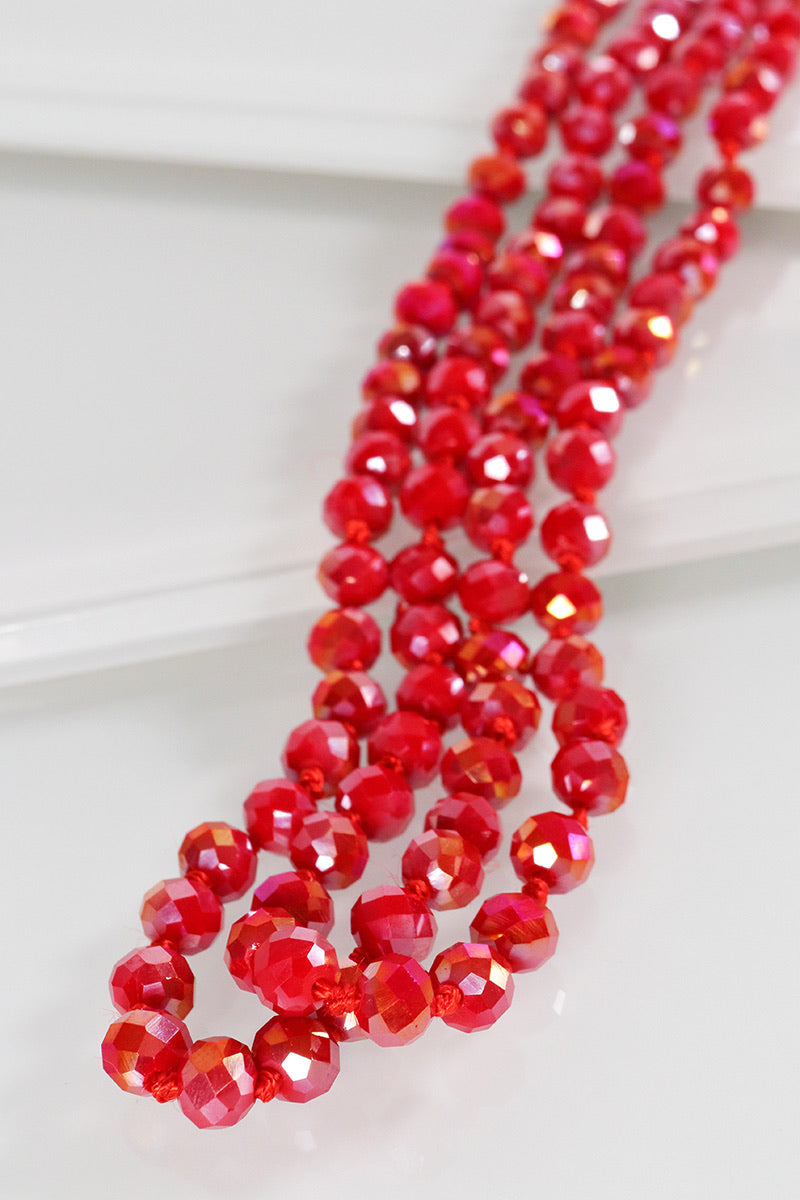 The Essential Beaded Necklace - Ruby Red