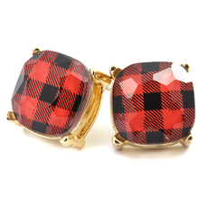 Load image into Gallery viewer, Buffalo Plaid Studs - Red or White
