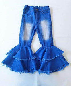 Double ruffle royal blue denim bells (Preorder)