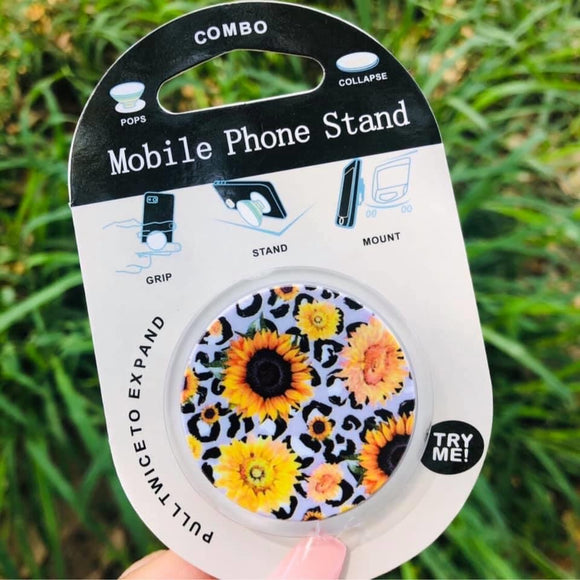 Floral and leopard phone grip and stand