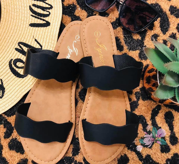 Summer Slide Sandals - BLACK