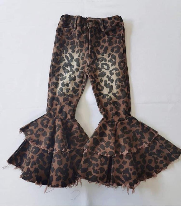 Double ruffle leopard denim bells (Preorder)