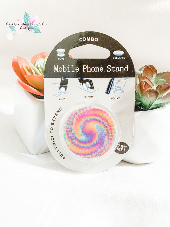 Neon tie dye phone grip and stand