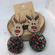 Load image into Gallery viewer, Reindeer Pom Pom Earrings