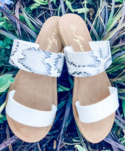 Load image into Gallery viewer, Summer Slide Sandals - Snake/White