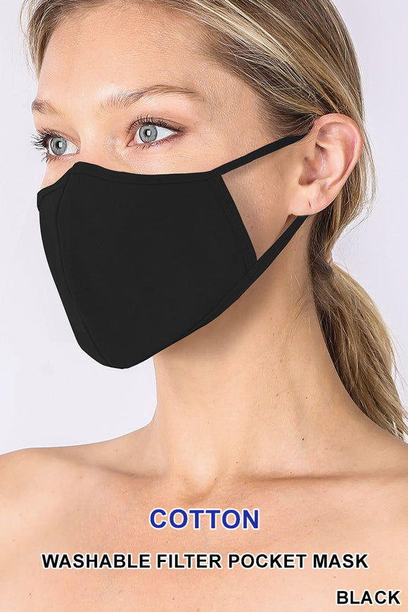 Adult - Black Face Mask w/Pocket for filter