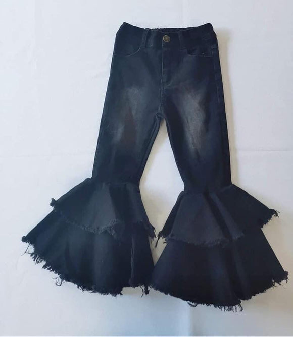 Double ruffle black denim bells (Preorder)