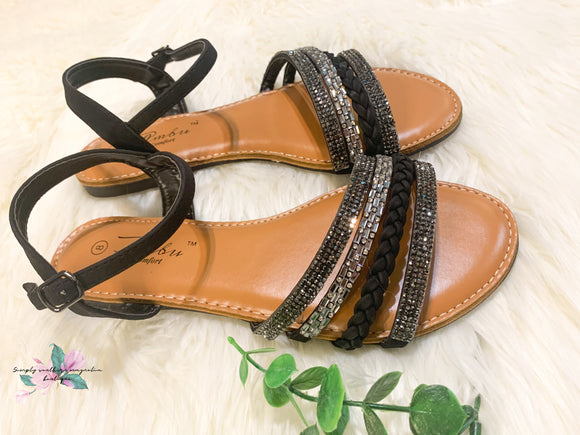 Summer Sparkle & Braided Strapy Sandals