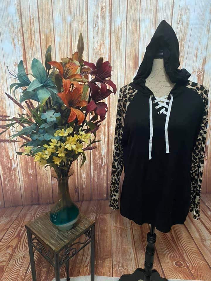 Leah's Leopard sleeve top with hood