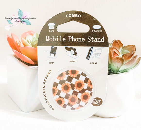 Black and white checkered and sunflower phone grip and stand