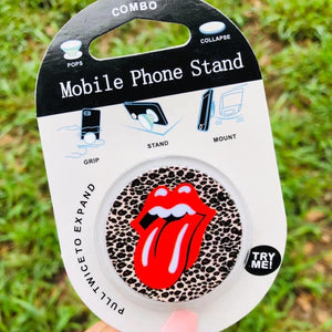 Rock and roll tongue phone grip and stand