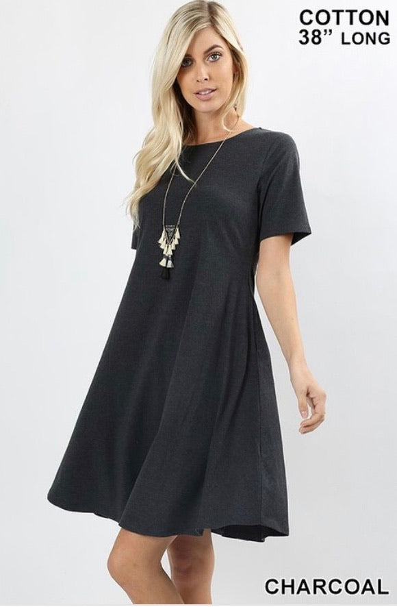PREMIUM COTTON SHORT SLEEVE CLASSIC A-LINE DRESS WITH SIDE POCKETS