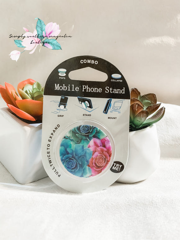Floral phone grip and stand