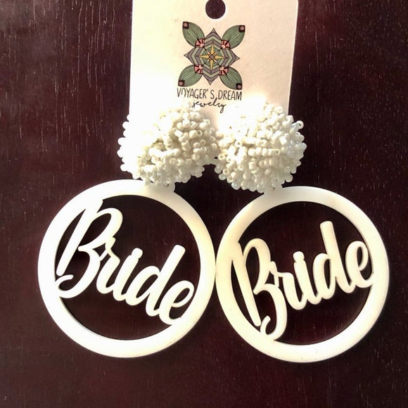 Bride Pom Earrings