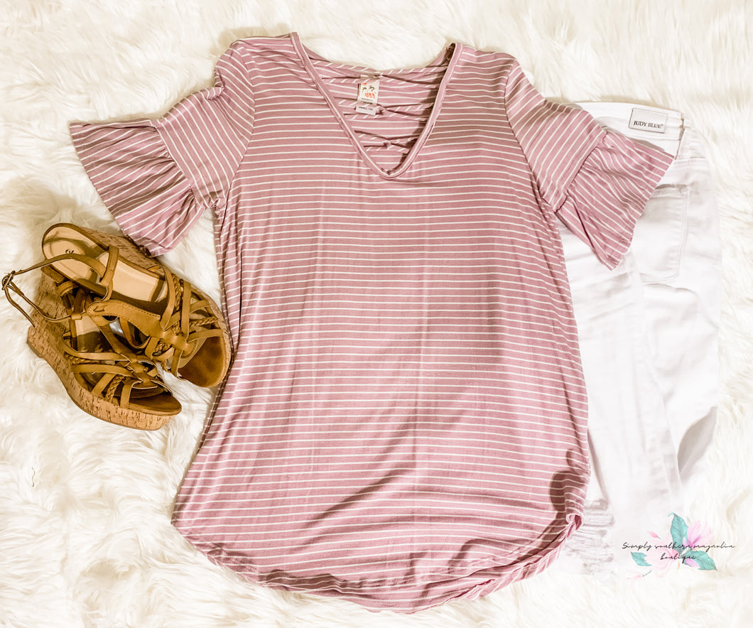 Lavender Criss Cross Top
