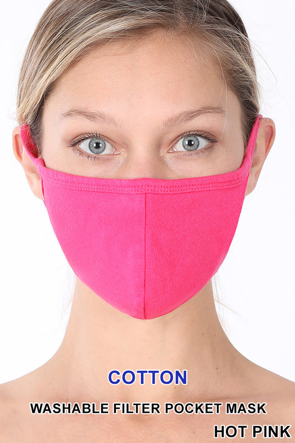 Adult - Hot Pink Face Mask w/Pocket for filter