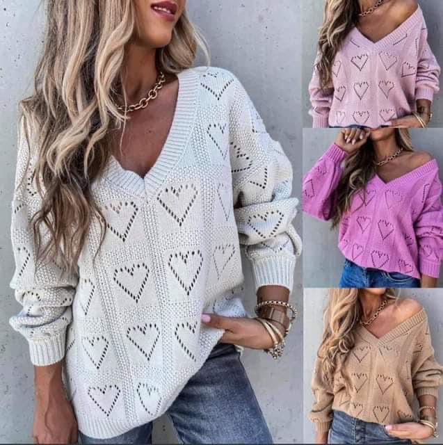 V-Neck Heart Sweater