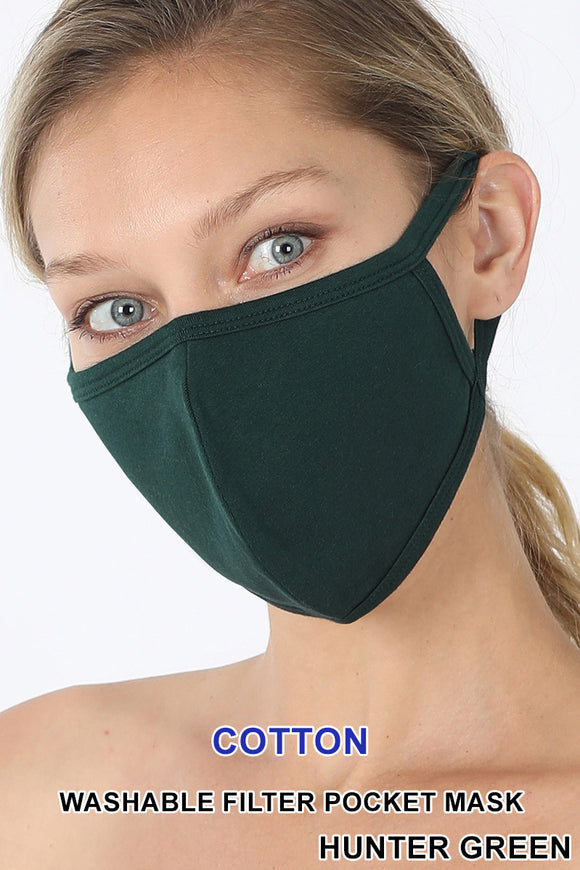 Adult - Hunter Green  Face Mask w/Pocket for filter