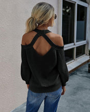 Load image into Gallery viewer, Crystals Cold shoulder open back sweater - 4 color choices