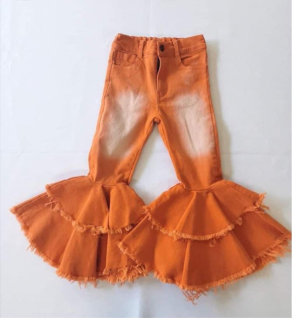 Double ruffle orange denim bells (Preorder)