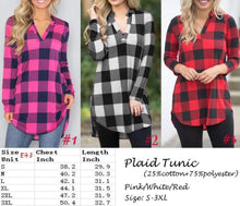 Load image into Gallery viewer, Perfect in plaid tunic - 3 color choices