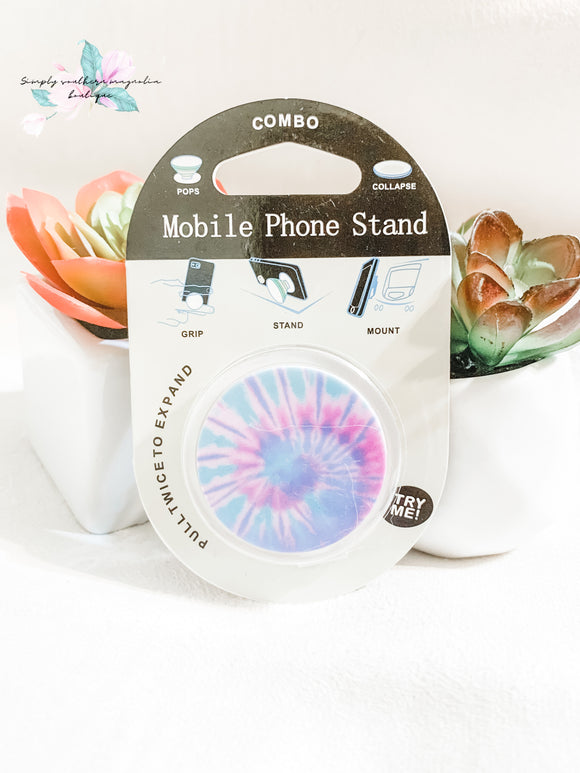 Pastel tie dye phone grip and stand